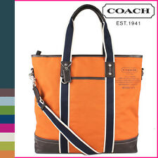 Mens Womens Coach Orange Navy Canvas Beach Tote Bag New F70578 NWT Rare Color!