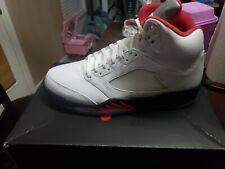 "Air Jordan 5 ""Fire Red"" Retro Size Men 12 True White/Fire Red - Black"
