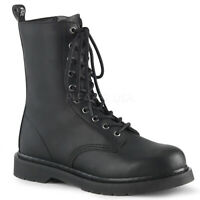 "Demonia Vegan Black 10 eye 1.25"" Heel Mid Calf Combat Boots Rocker Punk 4-14"