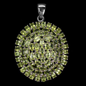Unheated Oval Green Peridot 14K White Gold Plate 925 Sterling Silver Pendant