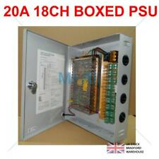 CCTV 12V DC 20A 18ch Lockable Power Supply PSU Boxed with 3 Pin UK Mains Cable