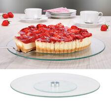 Drehbare Kuchenservierplatte Glas und Edelstahl Kuchenplatte 30 cm
