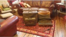 Hartmann Set of 6 Six Suitcases Tweed and Belted Leather Luggage Set