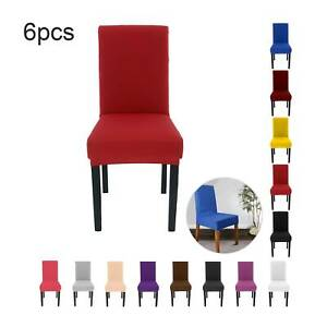 6PCS Dining Chair Covers Seat Slip Stretch Wedding Banquet Party Removable