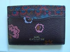 COACH Oxblood Multi SLIM CARD CASE Wallet F23633  NEW Floral Primrose Meadow