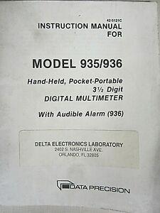 Data Model 935/936 3 1/2 Digit Digital Multimeter Instruction Manual 42-5121C
