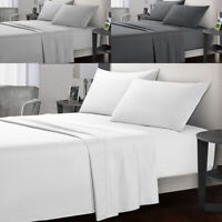 Ultra Soft 4 Pieces Microfibre Bed Sheet Sets Flat Fitted Pillowcase Queen/King