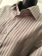 Funky ZARA Light Blue & Mustard Striped Slim Fit Business Dress Shirt EUR 38