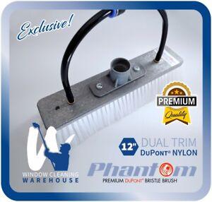 "Phantom 12"" Dual Trim DuPont NYLON Window Cleaning Water Fed Brush Pure Facelift"