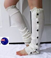 Lady Women Girl White Slouch warm loose Foot Leg Warmer Long Boots Socks tights