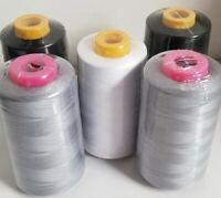 Lot of 5 Big Quality Sewing Machine Serger Thread Spools 6000 Yards Per Cone