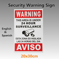 Warning This Area is Under 24 Hour Surveillance Security CCTV Sign w/ Spanish MH