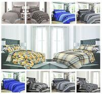 4 Piece Reversible 100% Cotton Duvet Cover Complete Bedding Set Latest Designs