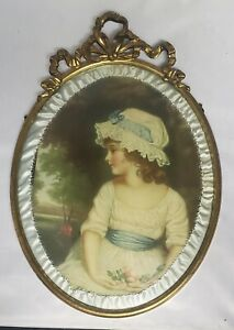 Antique Oval Metal Bow Gold Tone Victorian Framed Print Bubble Glass