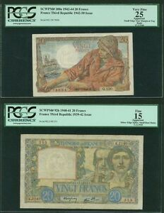 FRANCE  1940-44  20 FRANCS BANKNOTES, GROUP LOT OF (2), PICK#100a & PICK#92b