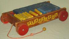 VINTAGE COLLECTIBLE PLAYSKOOL CHILDRENS PULL TOY WAGON w/46 WOOD BLOCKS