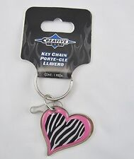 PINK ZEBRA PRINT  HEART  KEY CHAIN  METAL  NEW K0021