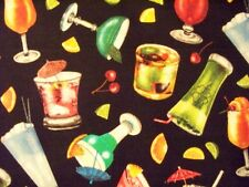 COCKTAILS MARTINI GLASSES FRUIT BLACK COTTON FABRIC FQ