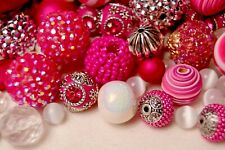 """Magenta"" Bead Mix, Large Boho, Resin, Glass Beads 8mm to 28mm + Pendant BM312"