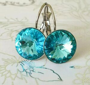 Crystal earrings Drop Earrings Genuine Swarovski element turquoise blue