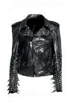 Men Black Silver Studded Long Spiked Brando Biker Cowhide Leather Jacket Chain