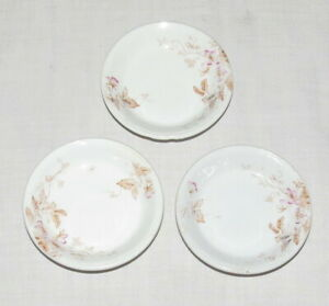 Butter Pats - Set of Three 3.1/8 inch - Hand painted pink flowers, brown leaves