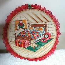 LARGE ROUND VINTAGE  EMBROIDERY HOOP CHRISTMAS PICTURE ART WALL HANGING