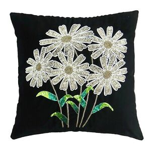 S4Sassy Decorative Pillow Case Hand Beaded Floral Cushion Cover-Vgp
