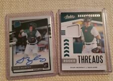 2 Card Lot 2020 Donruss Optic Sean Murphy RC On Card Auto + Absolute Rookie thr.