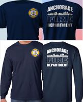 New ANCHORAGE Alaska Fire Department Firefighter Navy T-Shirt S-4XL