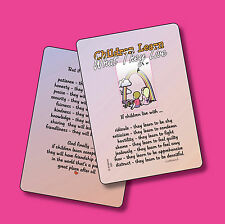 """""""Children Learn What They Live"""" - Inspirational Poem - 2 Verse Cards - SKU# 560"""