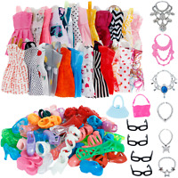 Barbie Clothes Dress Lot Fashion Outfit Set Jewelry Doll Accessories Pack Girls