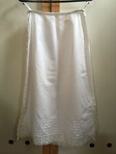 Vintage Fitted White Cotton Lace Trim Skirt Petticoat Size S