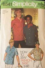"Simplicity 6541 Boys' button front short slv Shirt Pattern Size 8 chest 27"" cut"