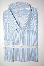 NWT EAGLE MEN'S BLUE & WHITE STRIPED DRESS FRENCH CUFF SLEEVE SHIRT 17 1/2 34 35
