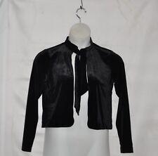 Joan Rivers Stretch Velvet Crop Jacket With Tie Size S Black