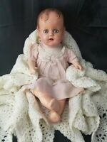 "1947 Composition Cryer baby doll ""Miracle on 34th Street"" Bright Blue eyes 18"""