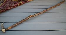 HAND CRAFTED TALL DEER ANTLER HANDLED CURLED VINE WALKING STICK