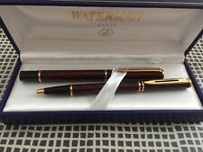 WATERMAN LAUREAT SHADOWED RED FOUNTAIN PEN & ROLLER BALL SET BOX w/ PAPERS