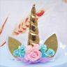 UNICORN Cake Topper Handmade Set Cute Horn Ears Flower Birthday Party Decor