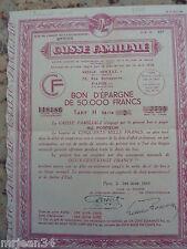 caisse familiale bon d´epargne de 50 000 Frs 1er mars 1949