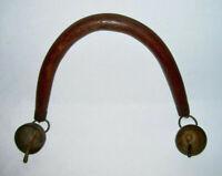 A Vintage Handmade Wooden Arched GOAT YOKE SHOULDER FRAME w/End Tip Brass BELLS