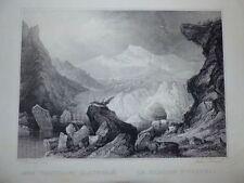Österreich Ötztal Gletscher Gesamtansicht Carl Frommel Stahlstich 1842