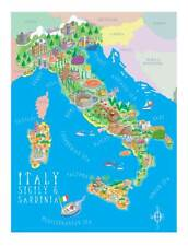 ITALY Beautiful contemporary illustrated map, limited edition of 150