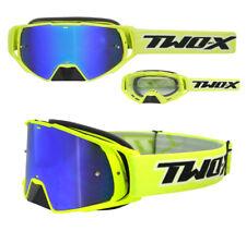TWO-X Rocket Crossbrille Motocross Enduro Brille neon gelb verspiegelt blau
