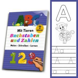 ABC Buchstaben & Zahlen Schreiben Lernen Malen - Lernbuch für Kinder ab 4✅
