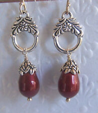 Bordeaux Swarovski Bead with Antique Silver Connector Sterling Silver Earrings