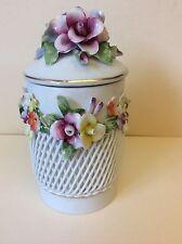 Vintage MOGA Romania Porcelain Hand Sculptured Lace &Flowers Box, circa 1940
