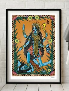 Kali Indian Goddess Hinduism Hindu Yoga Colour Art Poster Print By Msdre A4 A3