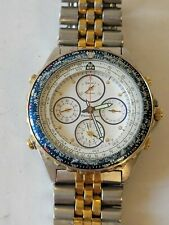 VTG 1990 - Seiko Flightmaster Chronograph Alarm White/Blue Gold Watch 7T34-6A09